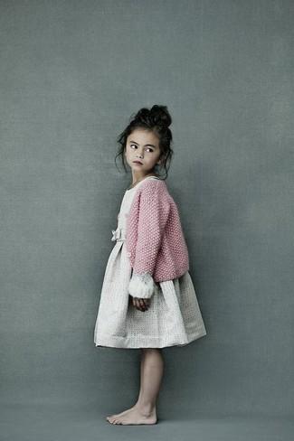 How to wear: pink knit cardigan, beige dress