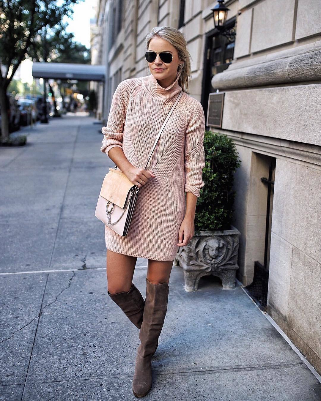 How to Wear a Hot Pink Sweater Dress (6 looks) | Women's Fashion