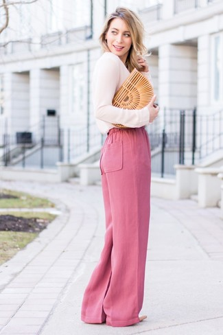 How to wear: pink long sleeve blouse, hot pink wide leg pants, beige leather pumps, tan straw clutch