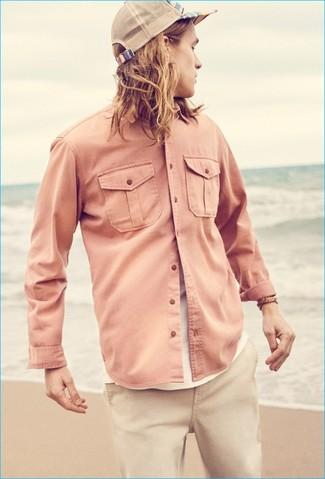 Linen Long Sleeve Shirt Pink