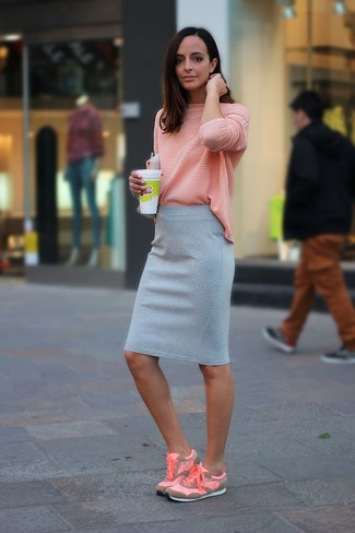 How to wear: pink long sleeve t-shirt, grey pencil skirt, pink athletic shoes
