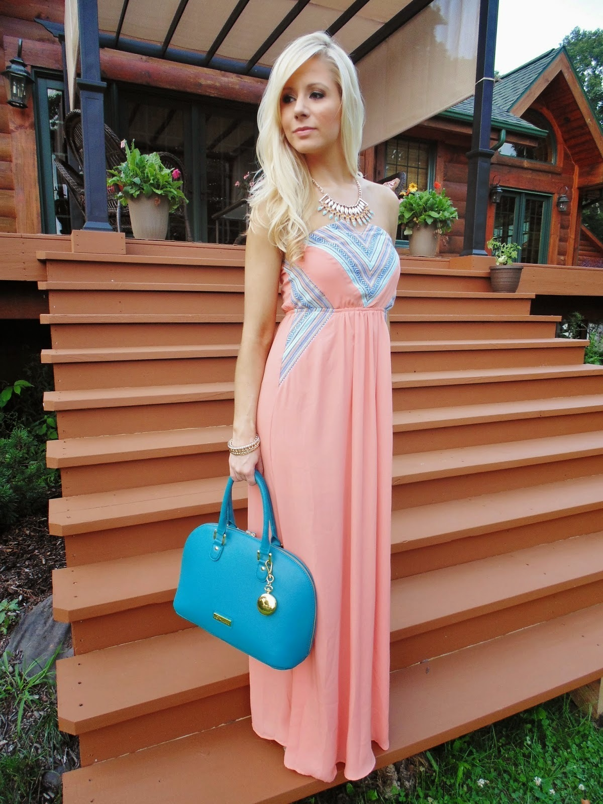 Women's Pink Maxi Dress, Aquamarine Leather Tote Bag, Light Blue ...
