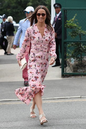 How to wear: pink floral silk maxi dress, white leather heeled sandals, white leather clutch, burgundy sunglasses