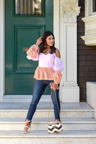 How to wear: pink gingham off shoulder top, navy skinny jeans, white leather heeled sandals, white and black quilted leather crossbody bag