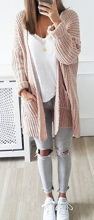 Pink Knit Cardigan Outfits For Women (12 ideas & outfits