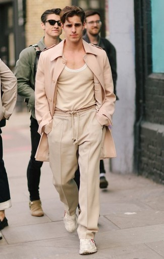 How to Wear Beige Athletic Shoes For Men: A pink overcoat and beige chinos combined together are a perfect match. A pair of beige athletic shoes immediately turns up the street cred of your look.