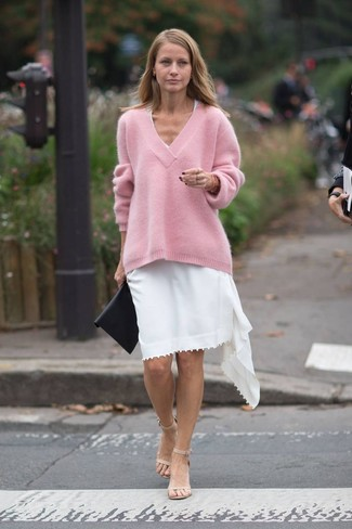 How to wear: pink oversized sweater, white casual dress, beige leather heeled sandals, black leather clutch