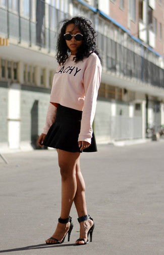 Women's Pink Print Cropped Sweater, Black Skater Skirt, Black Leather Heeled Sandals