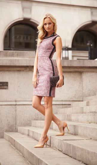 How to wear: pink sheath dress, tan leather pumps, black print satin clutch, black necklace