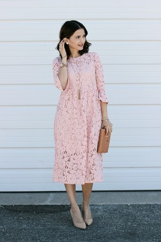 How to wear: pink lace shift dress, beige leather pumps, gold watch, gold pendant