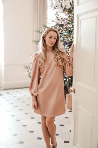How to wear: pink shift dress, beige studded leather heeled sandals