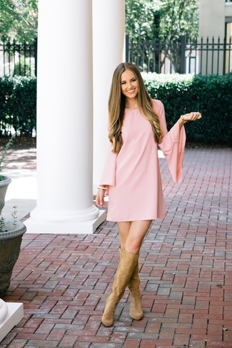 How to wear: pink shift dress, tan suede knee high boots, gold watch, gold bracelet