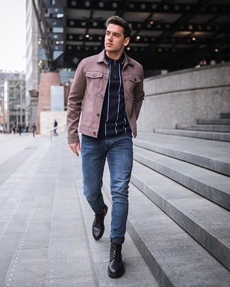 Men's Outfits 2020: Marry a pink shirt jacket with blue jeans for a no-nonsense ensemble that's also pulled together nicely. Complete your ensemble with black leather casual boots and off you go looking amazing.