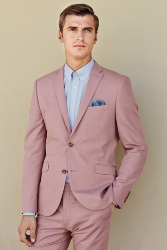 How to wear: pink suit, light blue dress shirt, blue pocket square