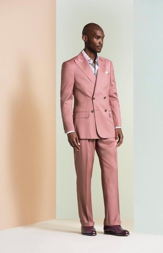 How to wear: pink suit, light blue floral long sleeve shirt, dark purple leather derby shoes
