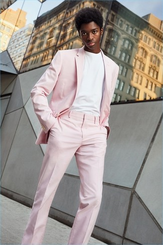 How to wear: pink suit, white crew-neck t-shirt