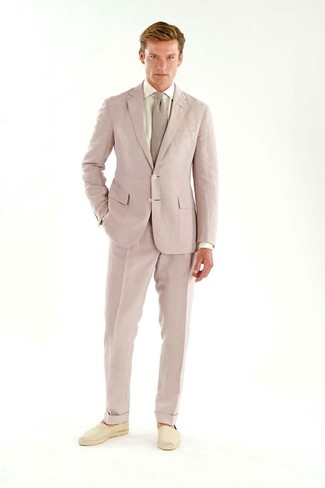 How to wear: pink suit, white dress shirt, beige canvas espadrilles, pink tie