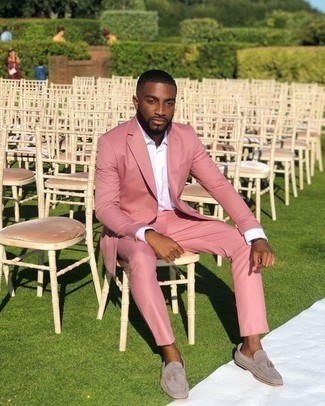 Men's Looks & Outfits: What To Wear In a Dressy Way: For rugged sophistication with a modern finish, you can easily opt for a pink suit and a white dress shirt. Grey suede tassel loafers are a fail-safe way to give a hint of stylish casualness to this getup.