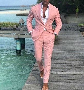 How to wear: pink suit, white dress shirt