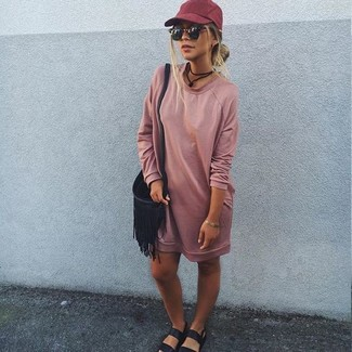How to wear: pink sweater dress, black leather flat sandals, black fringe leather crossbody bag, burgundy cap