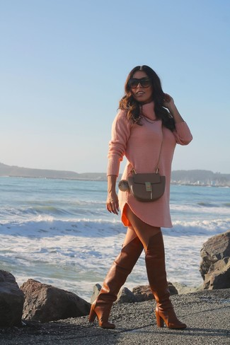 How to wear: pink sweater dress, tobacco leather over the knee boots, brown leather crossbody bag