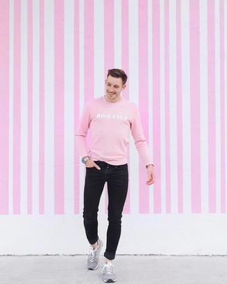 How to Wear Suede Athletic Shoes For Men: For an edgy outfit, Consider teaming a pink print sweatshirt with black skinny jeans. Add a pair of suede athletic shoes to this ensemble to give a dose of stylish nonchalance to your ensemble.