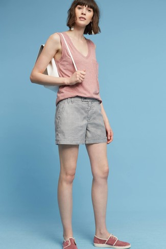 How to wear: pink tank, grey shorts, red suede slip-on sneakers, white leather backpack