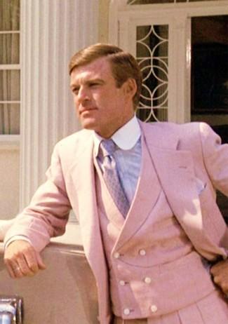 How to wear: pink three piece suit, light blue dress shirt, light violet tie