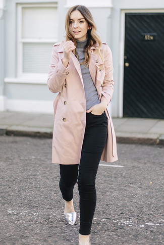 How to wear: pink trenchcoat, grey turtleneck, black skinny jeans, silver leather ballerina shoes