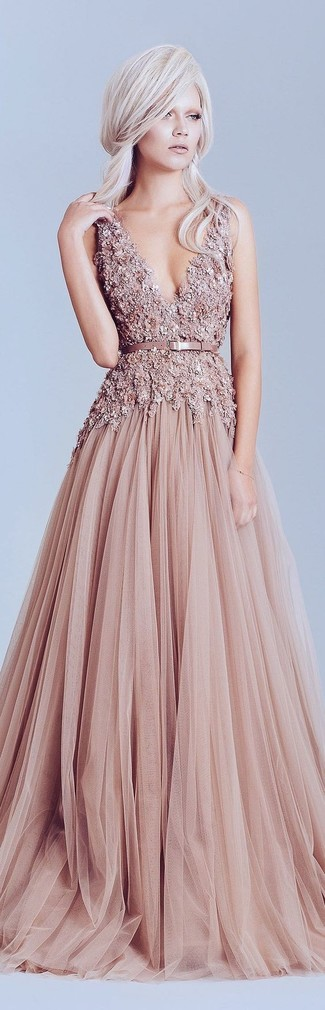 How to Wear a Pink Tulle Evening Dress: Choose a pink tulle evening dress for absolutely stunning attire.