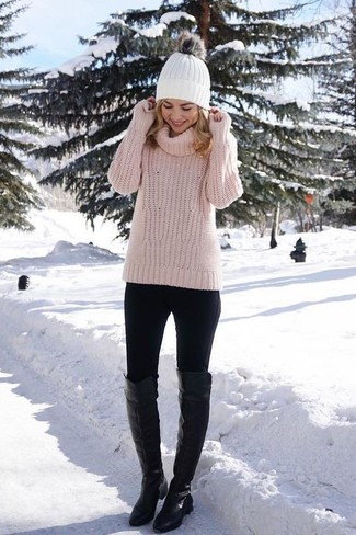 How to wear: pink knit turtleneck, black leggings, black leather over the knee boots, white beanie