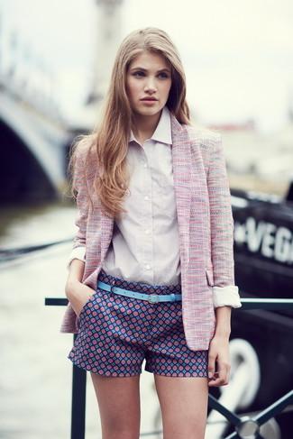 Women's Pink Tweed Jacket, White Dress Shirt, Navy Print Shorts, Light Blue Leather Belt
