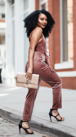 How to wear: pink velvet jumpsuit, black satin heeled sandals, gold leather clutch