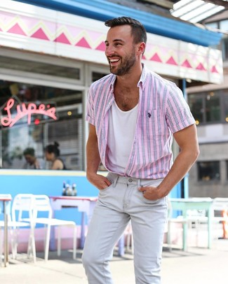 How to wear: pink vertical striped short sleeve shirt, white tank, grey skinny jeans