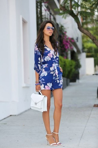 0e72bb22c70e2 ... Women's Blue Floral Playsuit, White Leather Heeled Sandals, White  Leather Satchel Bag, Purple