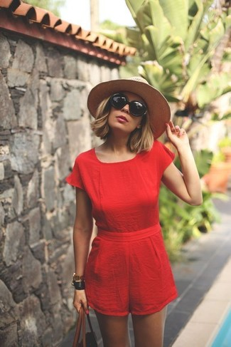 How to wear: red playsuit, brown leather tote bag, beige straw hat, black sunglasses