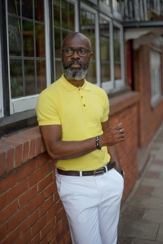 How to wear: yellow polo, white chinos, dark brown leather belt, black leather watch