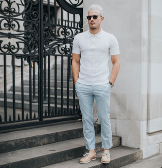 How to wear: white polo, light blue chinos, tan leather boat shoes, black sunglasses