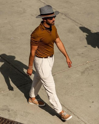 How to wear: tobacco polo, white linen chinos, tan leather boat shoes, black bandana