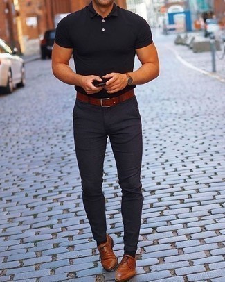 Black Polo with Chinos Outfits: A black polo and chinos make for the ultimate casual style for any man. A pair of tobacco leather derby shoes will take your getup in a more sophisticated direction.