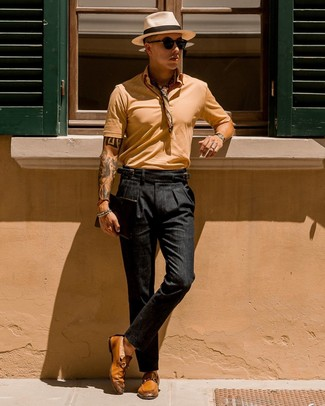 How to wear: tan polo, black chinos, tobacco leather loafers, beige bandana