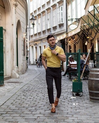 Navy Print Silk Scarf Outfits For Men: If you're a fan of relaxed styling when it comes to your personal style, you'll love this relaxed casual pairing of a mustard polo and a navy print silk scarf. Brown leather loafers are an effective way to add a confident kick to the ensemble.