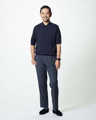 Polo Outfits For Men: If you're seeking to take your off-duty style to a new height, reach for a polo and navy chinos. Add black suede loafers to your getup to completely change up the outfit.