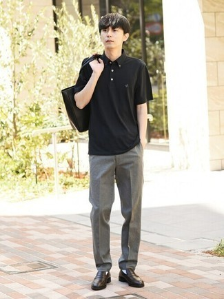 Black Polo Outfits For Men: A black polo and grey chinos will infuse extra style into your daily casual repertoire. To bring some extra flair to this outfit, enter a pair of dark brown leather loafers into the equation.