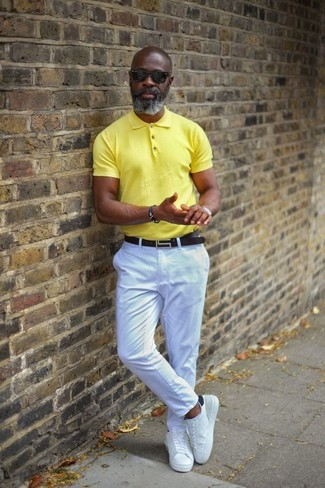 How to wear: yellow polo, white chinos, white leather low top sneakers, black leather belt