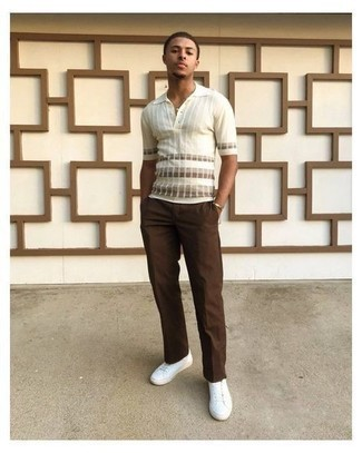 Brown Chinos Outfits: For a look that's pared-down but can be modified in a ton of different ways, reach for a white horizontal striped polo and brown chinos. White canvas low top sneakers tie the outfit together.