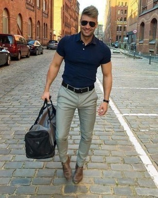 Brown Oxford Shoes with Grey Chinos