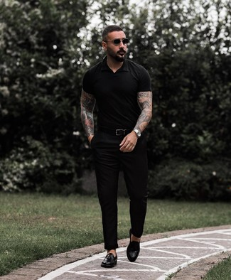 How to wear: black polo, black chinos, black leather tassel loafers, black leather belt