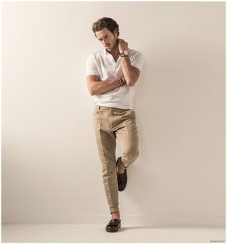 Dark Brown Leather Tassel Loafers Hot Weather Outfits: This combination of a white polo and khaki chinos is super easy to pull together and so comfortable to rock as well! To give this look a more sophisticated twist, why not add dark brown leather tassel loafers to the equation?