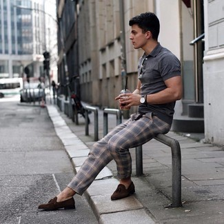 Grey Plaid Chinos Outfits: Consider pairing a charcoal polo with grey plaid chinos for a kick-ass getup. You can take a classic approach with shoes and add a pair of dark brown suede tassel loafers to the equation.